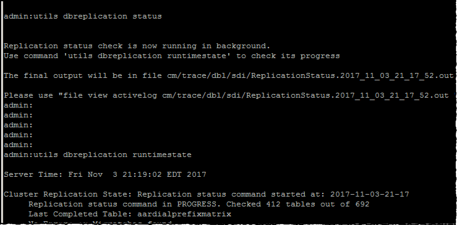 Rebooting CUCM servers, verifying system status and database